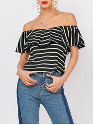 Off The Shoulder Striped Flounce Tee