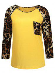 Long Sleeve Leopard Pocket T Shirt