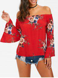 Off The Shouler Floral Flare Sleeve Blouse - RED