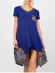 Loose V Neck Print Panel Tunic Dress With Sleeves