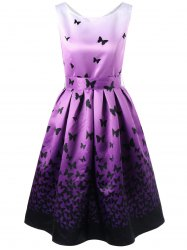 Butterfly Pattern Ombre Dress with Belt