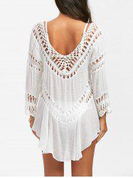 Col en V Volants Cover Up - Blanc