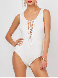 Plunging Neck Ribbed Knit Self Tie Bodysuit
