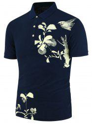 Flower Bird Painted Polo Shirt