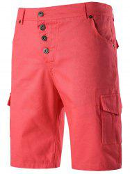 Button Fly Multi Pockets Chino Shorts