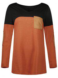 Elbow Patch Color Block Pocket Tee -