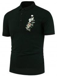 Floral Embroidery Slim Fit Polo Shirt