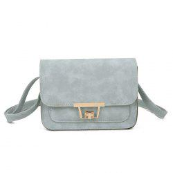 Faux Leather Metal Detail Crossbody Bag - LIGHT BLUE