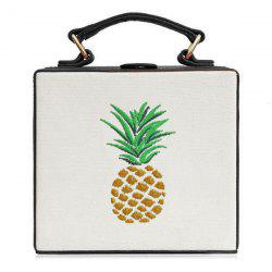 Canvas Panel Pineapple Embroidered Across Body Bag