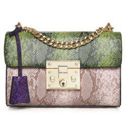 Snake Pattern Color Block Crossbody Bag