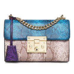 Snake Pattern Color Block Crossbody Bag - BLUE