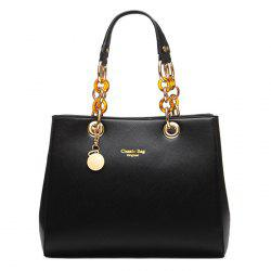 Faux Leather Metal Detail Tote Bag