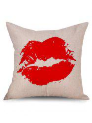 Red Lip Decorative Linen Sofa Pillowcase - OFF-WHITE