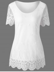 Lace Panel Scalloped Edge T-Shirt