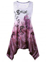 Butterfly and Paisley Pattern Asymmetric Tank Top