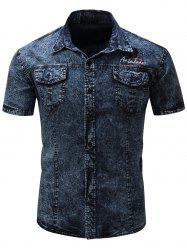Badge Embroidered Short Sleeve Pockets Denim Shirt
