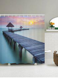 3D Holiday Village Bridge Shower Curtain