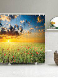 3D Morning Sun Floral Shower Curtain