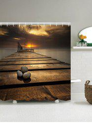 3D Wooden Bridge Sunset Shower Curtain
