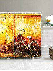 Mottled Wall and Bike Pattern Shower Curtain