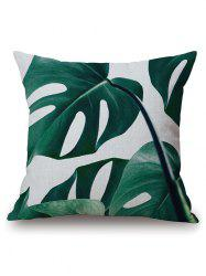 Plant Leaf Print Cushion Throw Pillow Case - BLACKISH GREEN