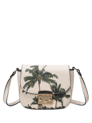Metal Detail Palm Print Crossbody Bag - WHITE
