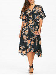Floral Print Chiffon Tea Length Wrap Dress - BLACK