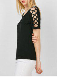Criss Cross Cutout Shoulder Tee