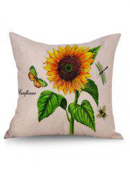 Hand Painted Sunflower Linen Pillowcase - OFF-WHITE