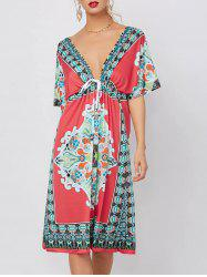 Low Cut Summer Ethnic Print Backless Dress