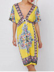 Low Cut Ethnic Print Backless Dress