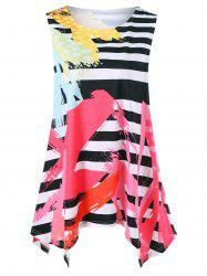 Scrawl Print and Striped Plus Size Tank Top