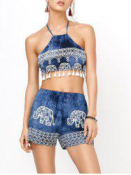 Elephant Print Backless Crop Top with Shorts - BLUE