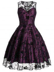 Tulle Floral Tea Length Vintage Party Dress - PURPLISH RED 2XL