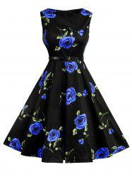 Floral Print Cotton Vintage Formal Tea Dress