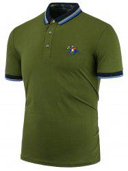 Stripe Horse Embroidered Polo Shirt