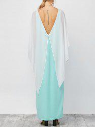 Cutout Wing Flounce Maxi Evening Dress