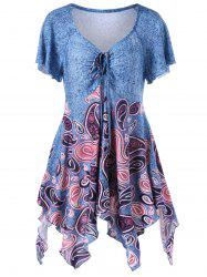 Empire Waist Paisley Plus Size Asymmetric T-Shirt - BLUE