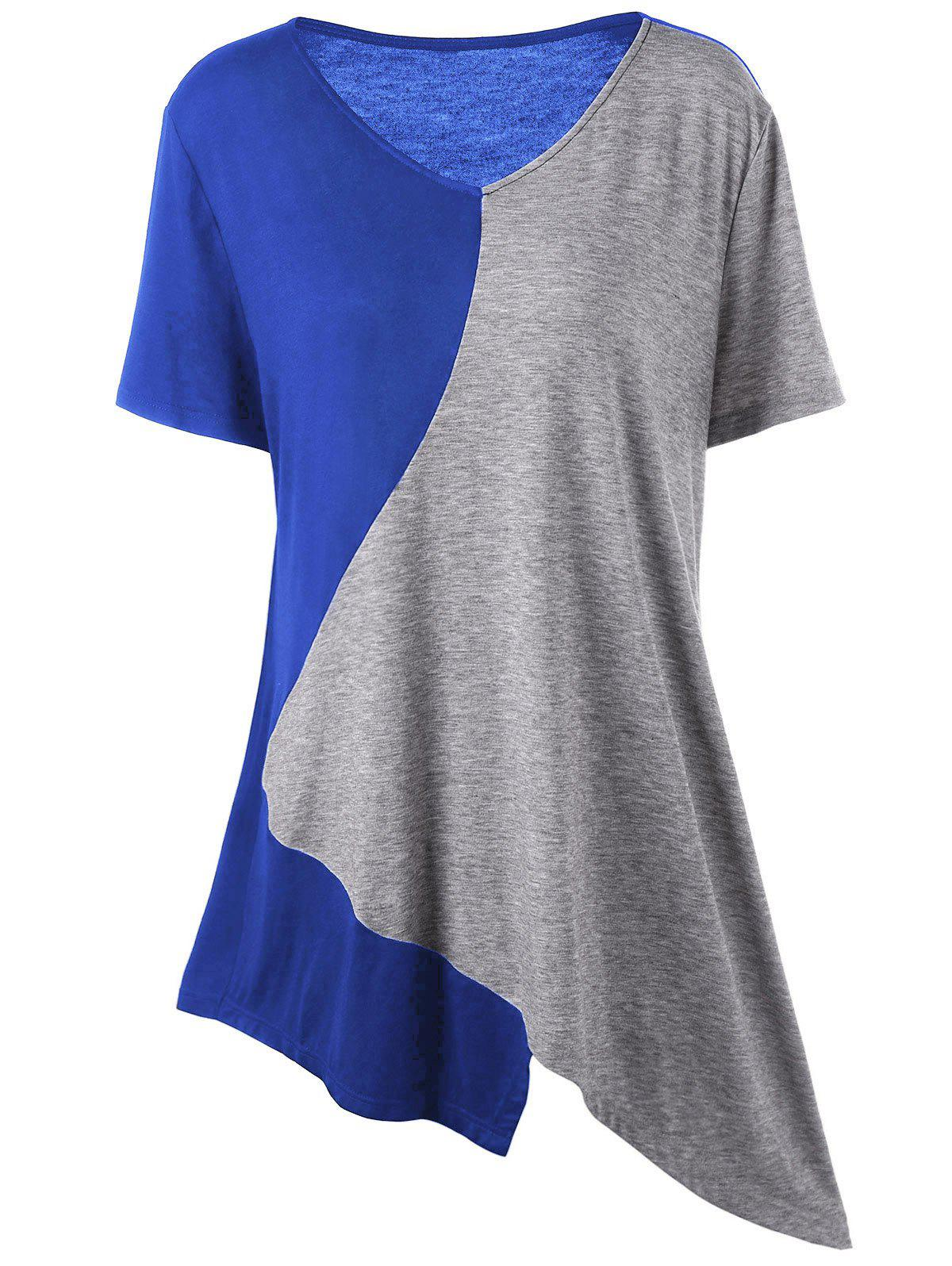 Asymmetrical Color Block Plus Size Long T-ShirtWOMEN<br><br>Size: XL; Color: GRAY AND BLUE; Material: Cotton,Spandex; Shirt Length: Long; Sleeve Length: Short; Collar: V-Neck; Style: Casual; Season: Summer; Pattern Type: Others; Weight: 0.2000kg; Package Contents: 1 x T-Shirt;