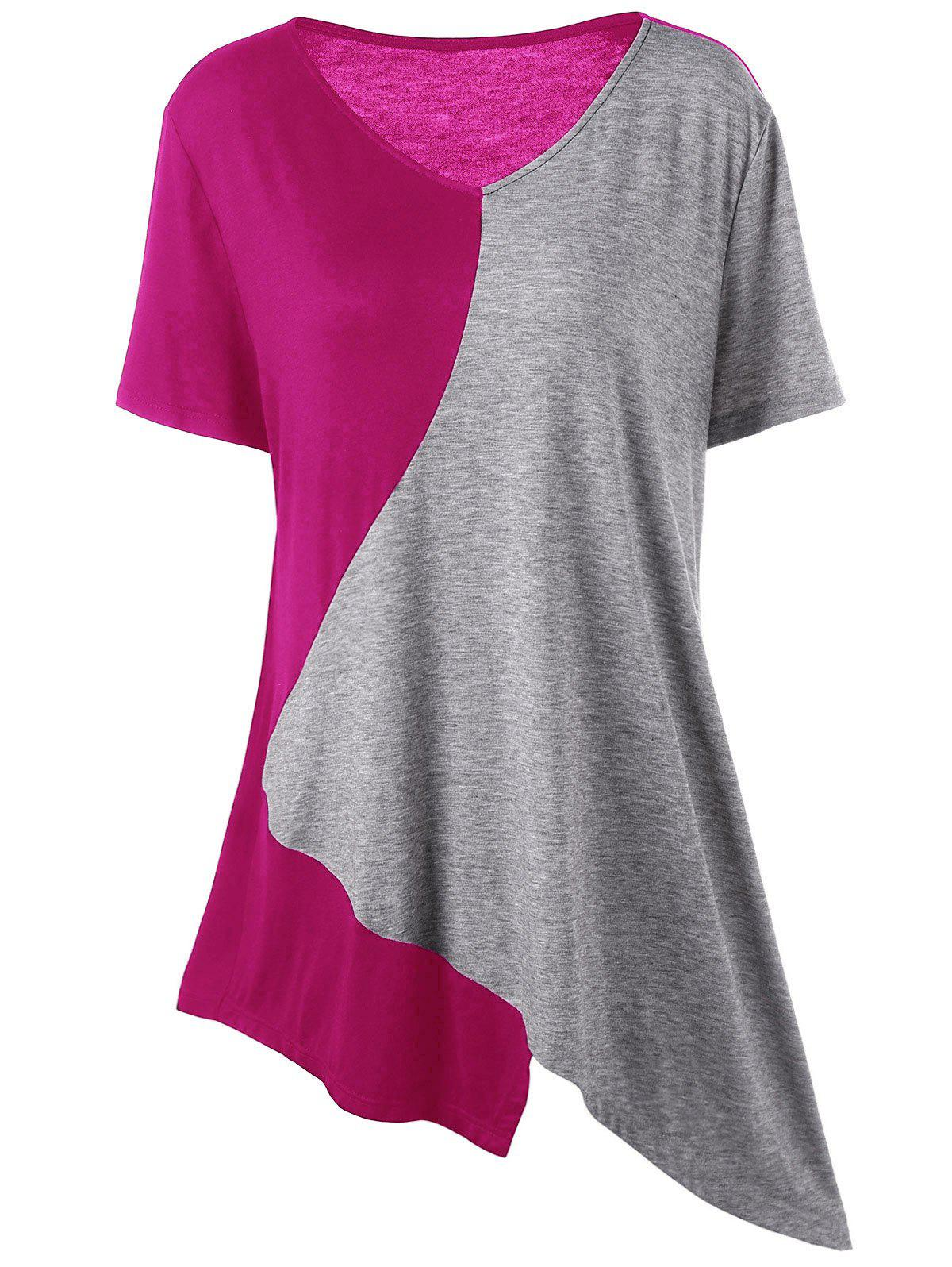 Asymmetrical Color Block Plus Size Long T-ShirtWOMEN<br><br>Size: 2XL; Color: GRAY AND RED; Material: Cotton,Spandex; Shirt Length: Long; Sleeve Length: Short; Collar: V-Neck; Style: Casual; Season: Summer; Pattern Type: Others; Weight: 0.2000kg; Package Contents: 1 x T-Shirt;