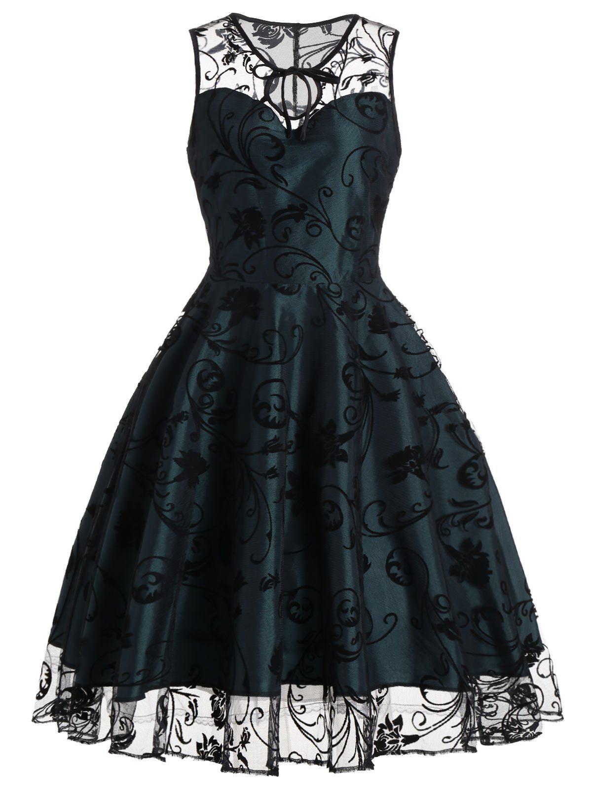 Tulle Floral Tea Length Vintage Party DressWOMEN<br><br>Size: 2XL; Color: BLACKISH GREEN; Style: Vintage; Material: Polyester; Silhouette: A-Line; Dresses Length: Mid-Calf; Neckline: Round Collar; Sleeve Length: Sleeveless; Pattern Type: Floral; With Belt: No; Season: Summer; Weight: 0.3700kg; Package Contents: 1 x Dress;
