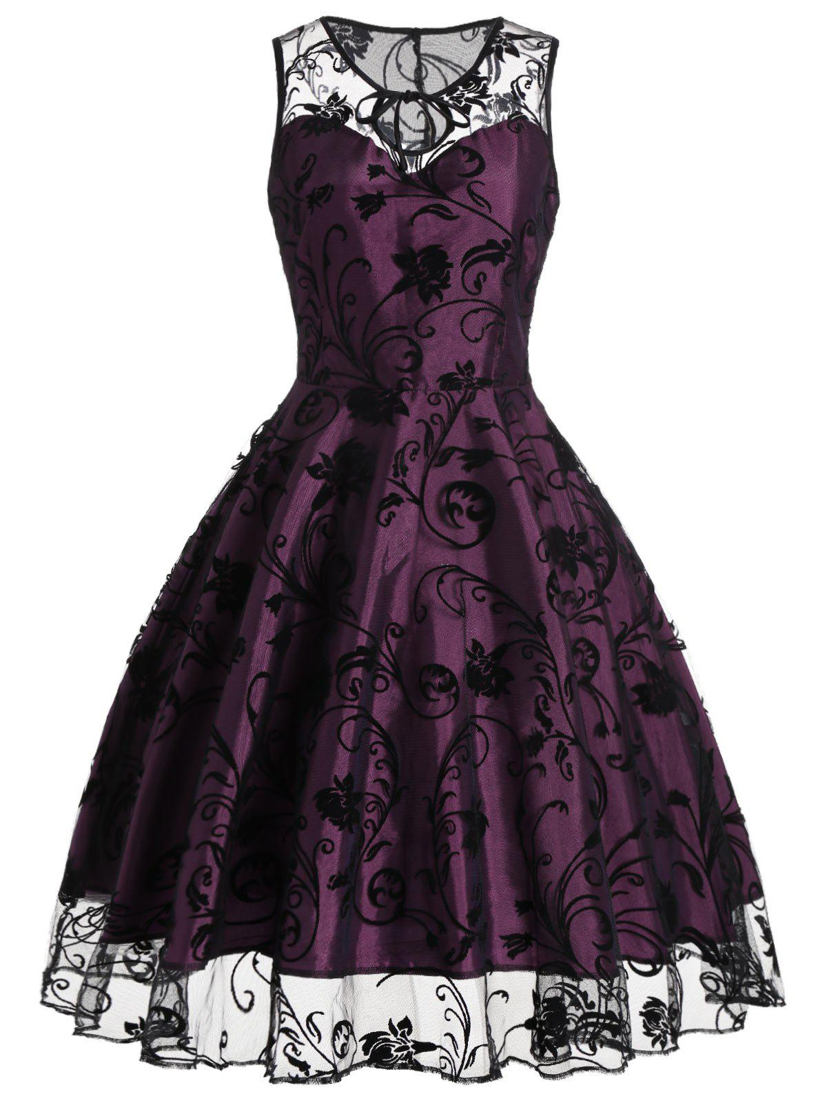 Tulle Floral Tea Length Vintage Party DressWOMEN<br><br>Size: 2XL; Color: PURPLISH RED; Style: Vintage; Material: Polyester; Silhouette: A-Line; Dresses Length: Mid-Calf; Neckline: Round Collar; Sleeve Length: Sleeveless; Pattern Type: Floral; With Belt: No; Season: Summer; Weight: 0.3700kg; Package Contents: 1 x Dress;