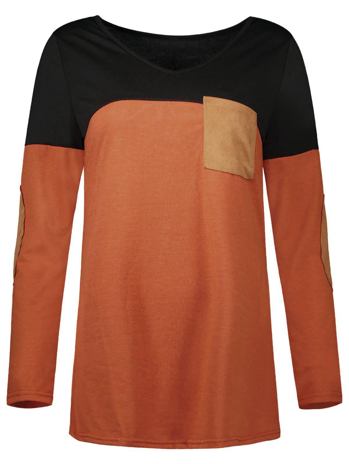 Chic Elbow Patch Color Block Pocket Tee