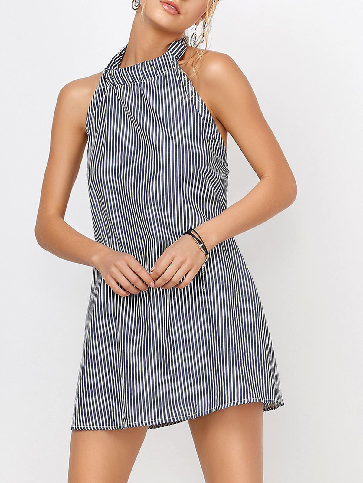 Discount Backless Halter Short Striped Shift Dress