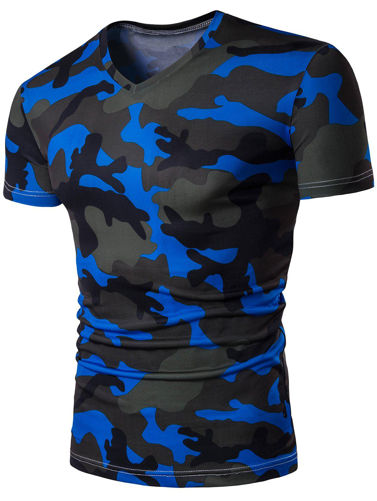 V Neck Short Sleeve Camo TeeMEN<br><br>Size: 5XL; Color: BLUE; Style: Casual,Fashion; Material: Polyester,Spandex; Sleeve Length: Short; Collar: V-Neck; Pattern Type: Camouflage; Weight: 0.2200kg; Package Contents: 1 x Tee;