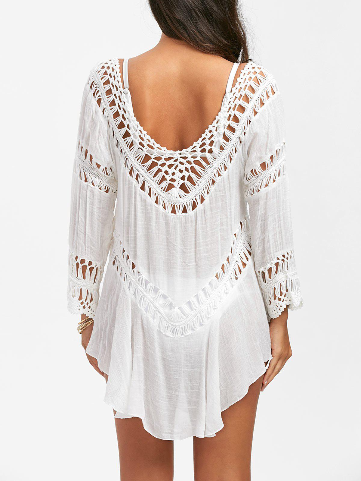 Crochet Panel Swing Beach Tunic Cover UpWOMEN<br><br>Size: ONE SIZE; Color: WHITE; Cover-Up Type: Dress; Gender: For Women; Material: Polyester; Neckline: U Neck; Pattern Type: Solid; Embellishment: Crochet; Waist: Natural; Weight: 0.3200kg; Package Contents: 1 x Cover Up;
