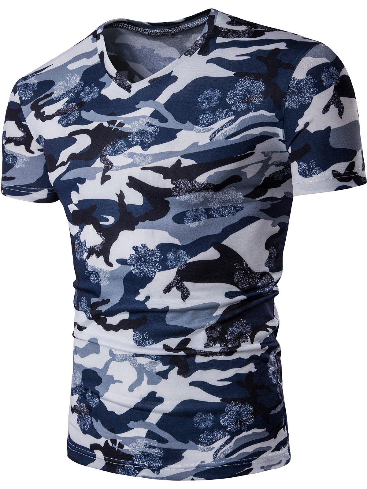 V Neck Floral Camouflage TeeMEN<br><br>Size: 5XL; Color: BLUE GRAY; Style: Casual; Material: Polyester,Spandex; Sleeve Length: Short; Collar: V-Neck; Pattern Type: Camouflage; Weight: 0.2000kg; Package Contents: 1 x Tee;