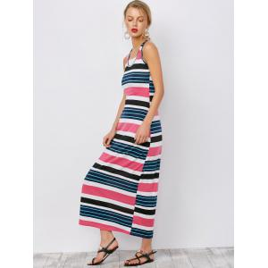 Stripe Ankle Length Tank Dress - PEACH RED S