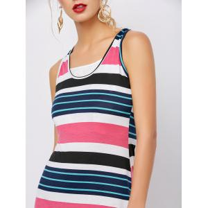 Stripe Ankle Length Maxi Tank Dress - PEACH RED S