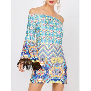 Fringe Print Off The Shoulder Dress - Colormix - L